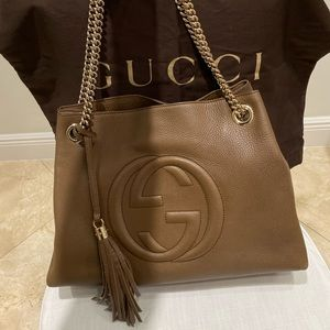 Gucci Soho Shoulder Bag Brown Leather Tote